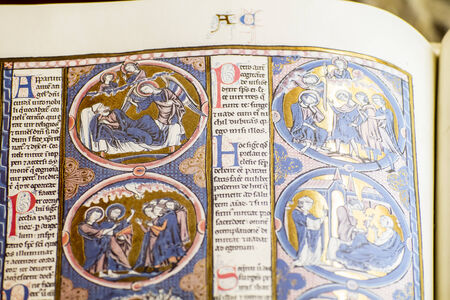 writting, medieval handwritten book by Christian monks photo