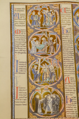 literature, medieval handwritten book by Christian monks photo
