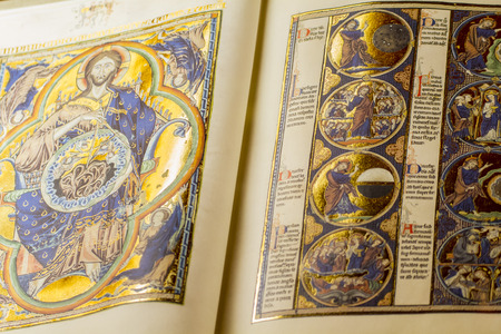 read, medieval handwritten book by Christian monks Stock Photo