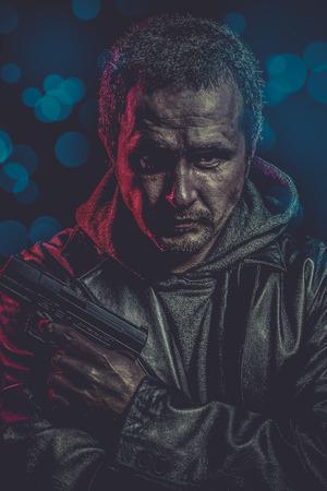 lightbar: dangerous secret agent with gun and police emergency lights
