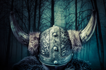 Helmet, Viking warrior, male dressed in Barbarian style with sword, bearded
