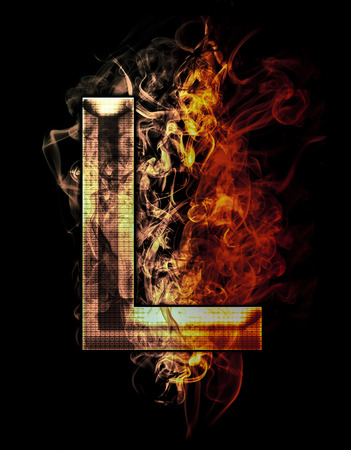 l first: l, illustration of  letter with chrome effects and red fire on black background Stock Photo