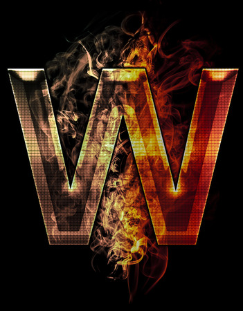 w, illustration of  letter with chrome effects and red fire on black background illustration