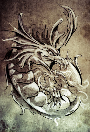 Sketch of tattoo art, medieval dragon, vintage style photo