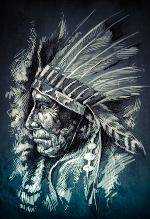 chieftain: Sketch of tattoo art, native american indian head, chief, dirty background Stock Photo