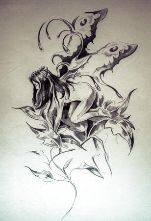 tatouage ange: Croquis de tatouage art, fée, illustration fantastique Banque d'images