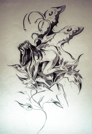 Sketch of tattoo art, fairy, fantasy illustration Stock Photo