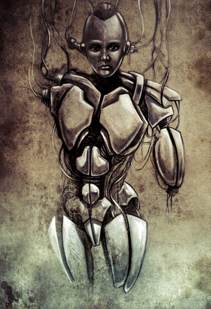 Sketch of tattoo art, android robot photo