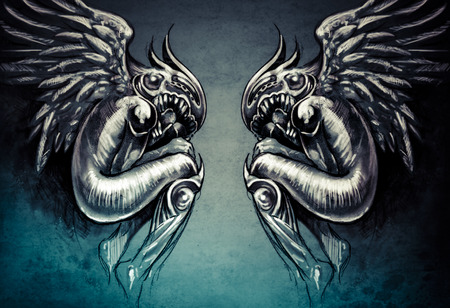 Sketch of tattoo art, two angels, fantasy concept photo