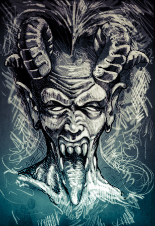 Devil, fantasy illustration over textured background illustration