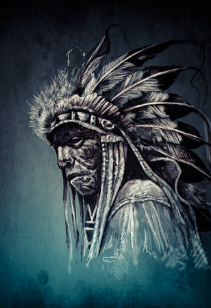 Native american indian head, chief, vintage style photo