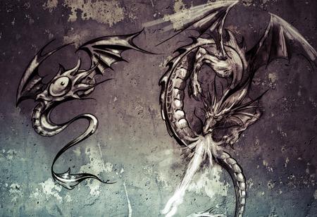 Tattoo art illustration, dragons over grey wall illustration