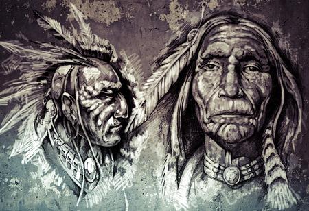 ネイティブ アメリカンのインディアン ヘッド, 首長, レトロなスタイル 写真素材