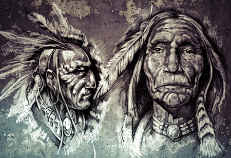 chiefs: Native american indian head, chiefs, retro style