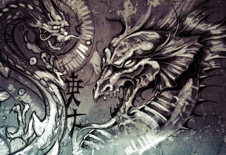 Dragons, tattoo illustration over grey wall illustration