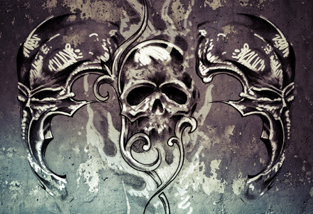 Tattoo art, 3 skulls over grey background, Sketch photo