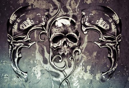 Tattoo art, 3 skulls over grey background, Sketch photo