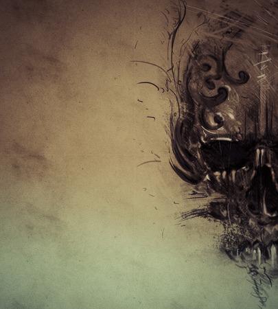 Tattoo skull over vintage paper, design handmade