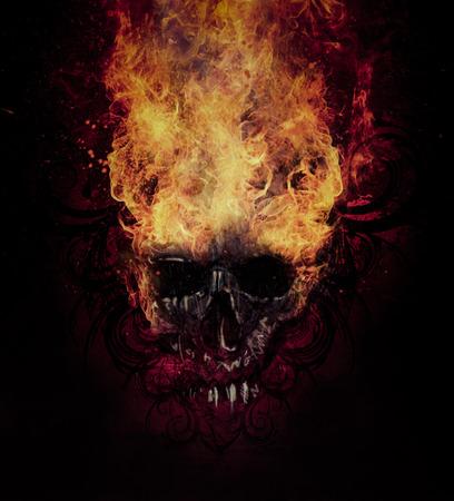 devil's bones: Burning skull. Sketch of tattoo art, fire with tribal flourishes