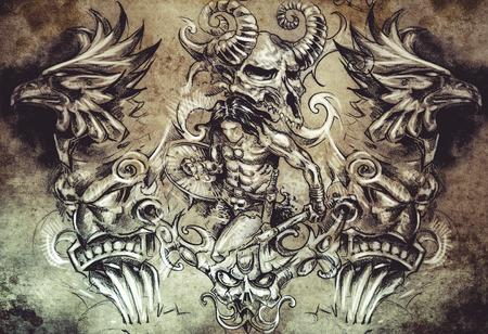 Tattoo sketch, handmade design over vintage paper