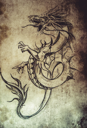 eastern zodiac: Tattoo sketch, handmade design over vintage paper