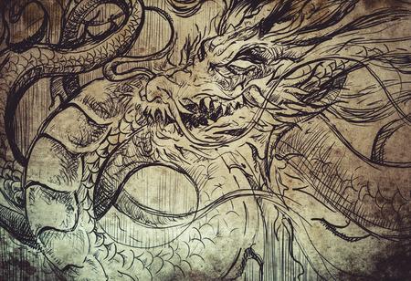 fortune design: Tattoo sketch, handmade design over vintage paper