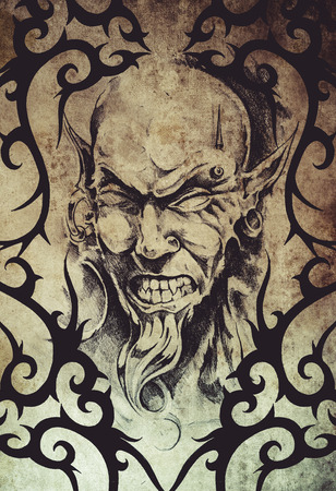 piercing: Tattoo devil with piercing over vintage paper Stock Photo