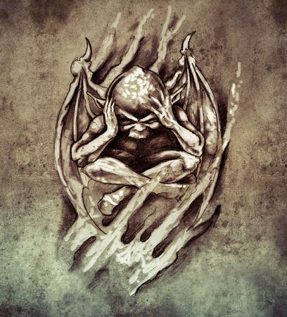 Sketch of tattoo art, anger monster photo