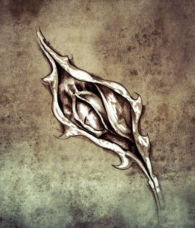 Sketch of tattoo art, dragon under skin photo