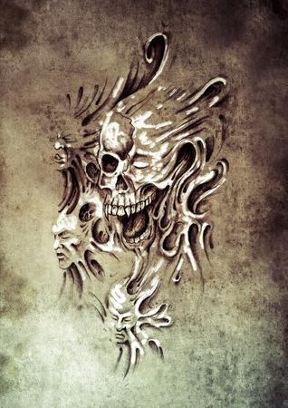 Sketch of tattoo art, monster heads under skin photo