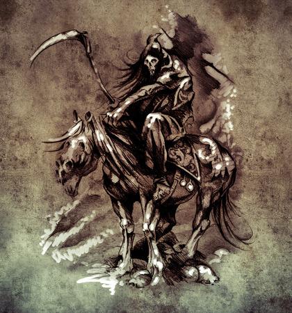Sketch of tattoo art, medieval warrior with horse on vintage paper, handmade illustration illustration