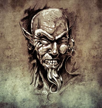 piercing: Sketch of tattoo art, devil head with piercing on vintage paper, handmade illustration Stock Photo