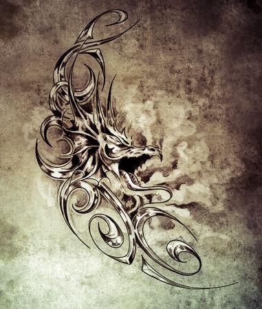 Sketch of tatto art, decorative medieval dragon photo