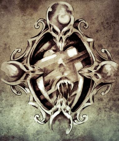 Sketch of tattoo art, magic mirror  on vintage paper, handmade illustration illustration