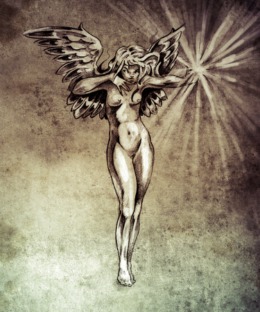 dark elf: Sketch of tattoo art, fairy angel