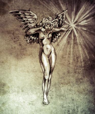engel tattoo: Skizze der Tattoo-Kunst, Fee Engel