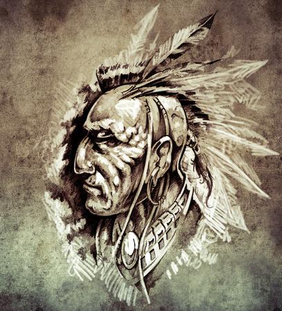 Sketch of tattoo art, American Indian Chief illustration on vintage paper, handmade illustration illustration