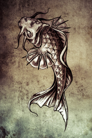 Sketch of tattoo art, japanese goldfish photo