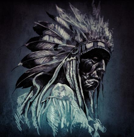 Tattoo art, portrait of american indian head over dark background photo