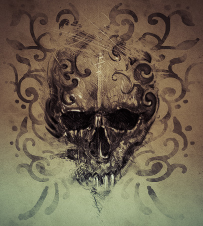 Tattoo skull over vintage paper, white tribals design photo