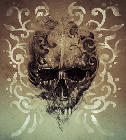 Tattoo skull over vintage paper, white tribals design photo