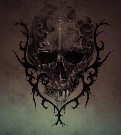 Tattoo skull over vintage paper, handmade illustration illustration