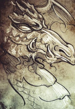 Tattoo sketch, handmade design over vintage paper photo