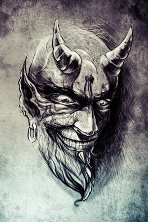 monster face: tattoo illustration, handmade draw over vintage paper
