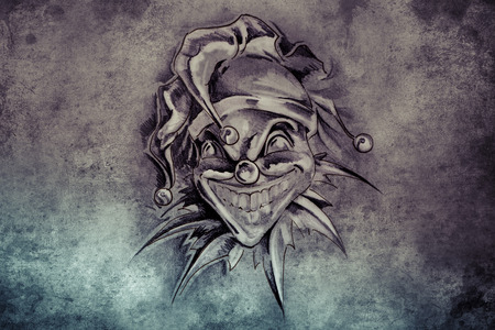 tattoo illustration, handmade draw over vintage paper