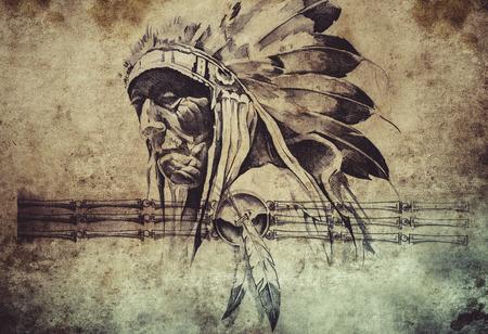 Croquis de tatouage de l'American tribal indien chef guerrier Banque d'images - 32342549