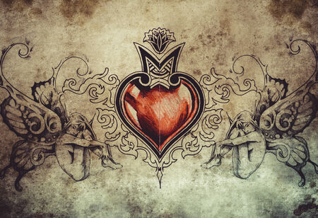 Tattoo art design, heart with two nymphs photo