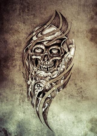 Sketch of tattoo art, monster with eight ball  on vintage paper, handmade illustration illustration