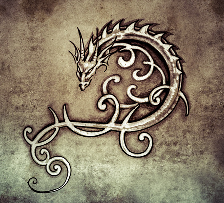 Sketch of tattoo art, decorative dragon photo