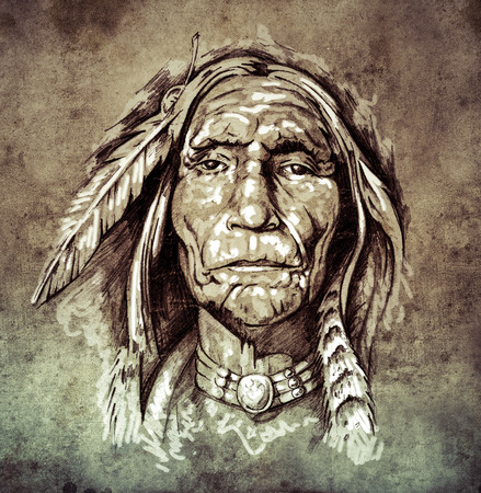 Sketch of tattoo art, portrait of american indian head